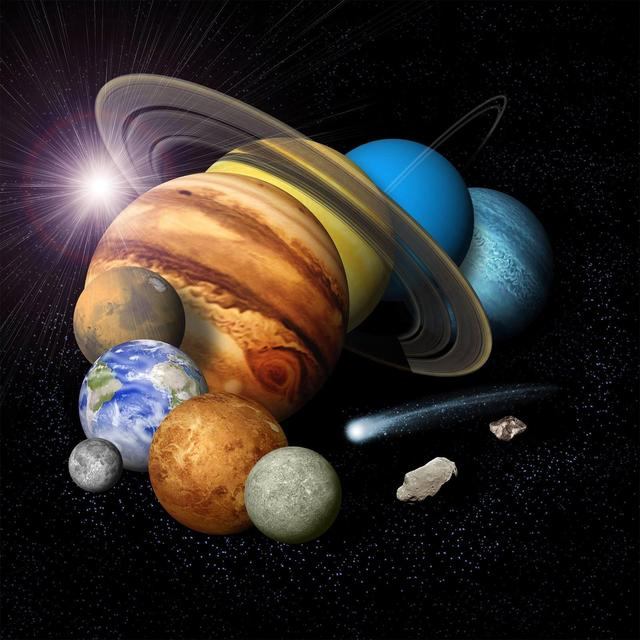 Montaj sistem solar cu concept de artist de opt planete