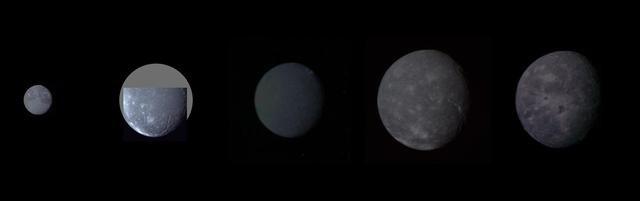 Uranus – Montajul lui Uranus Cinci mari sateliți